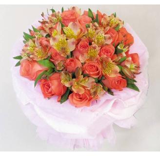 石夏兰时时想着你,祝你健康,探病花束,24支粉色玫瑰,六出花,水仙百合,小百合,混合配搭鲜花图片展示。
