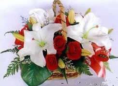 石夏兰福满园手提花篮鲜花图片展示。