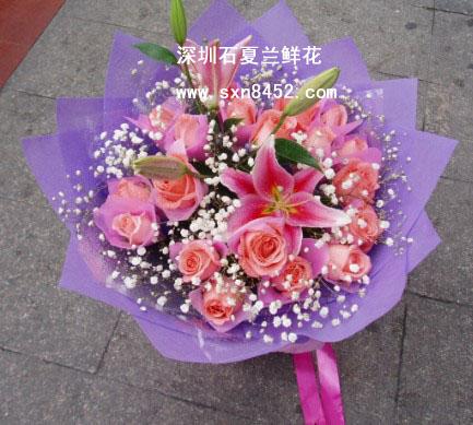石夏兰19朵粉色玫瑰鲜花图片展示。