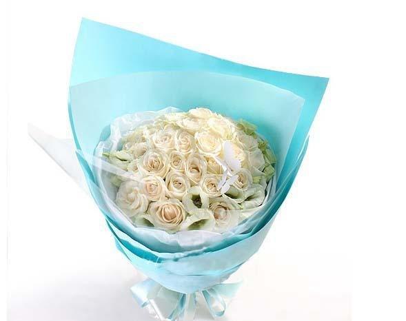 石夏兰18朵白玫瑰鲜花图片展示。