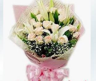 石夏兰18朵香槟玫瑰长相爱长相知鲜花图片展示。