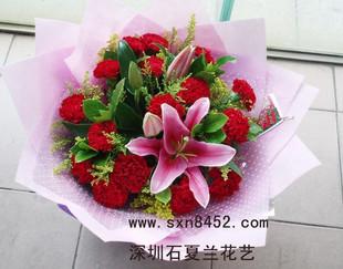 石夏兰【妩媚】16枝红色康乃馨鲜花图片展示。