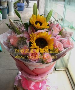 石夏兰3朵向日葵,9朵粉玫瑰 生日鲜花图片展示。