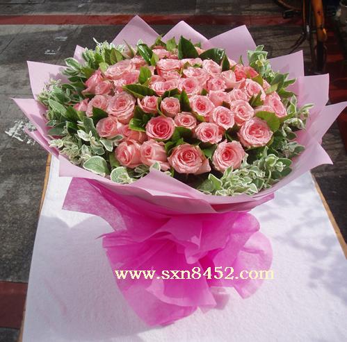 石夏兰珍爱永不变,56朵戴安娜玫瑰鲜花图片展示。
