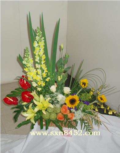 石夏兰事业有成,红掌,向日葵,金鱼草花篮,商务送礼花篮鲜花图片展示。