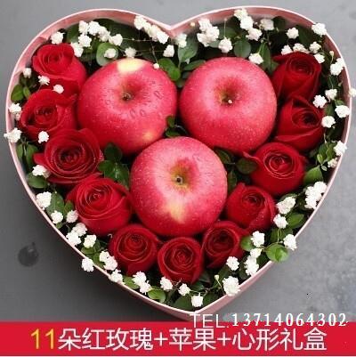 石夏兰11朵玫瑰三个苹果圣诞鲜花苹果花束平安夜鲜花深圳福田罗湖黄贝岭罗湖火车站文锦鲜花图片展示。