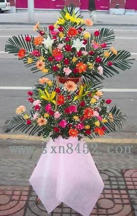 石夏兰生财,开业花篮,庆典花篮,双层开业花篮,二层花篮鲜花图片展示。