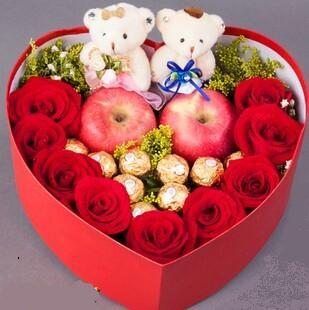 石夏兰9朵玫瑰,9粒巧克力,平安夜鲜花,苹果花束,圣诞花束,深圳,福滨新村,公仔,心形,礼盒鲜花图片展示
