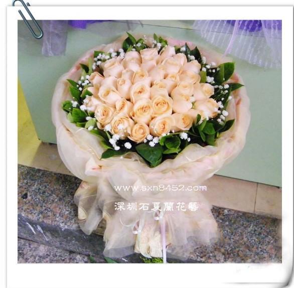 石夏兰99朵香槟玫瑰,高端时尚,深圳鲜花速递,生日玫瑰花束预订,福田,南山鲜花店鲜花图片展示。