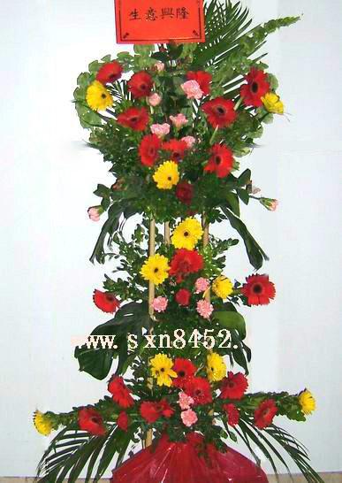石夏兰大发,三层开业花篮,市区鲜花,商店开业花篮,特价鲜花图片展示。