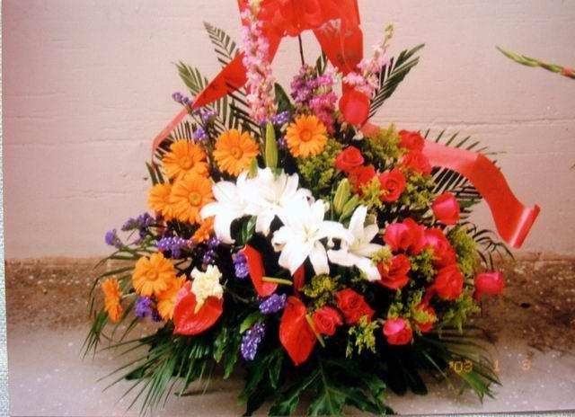 石夏兰【祝母亲健康长寿】红掌单面花篮鲜花图片展示。