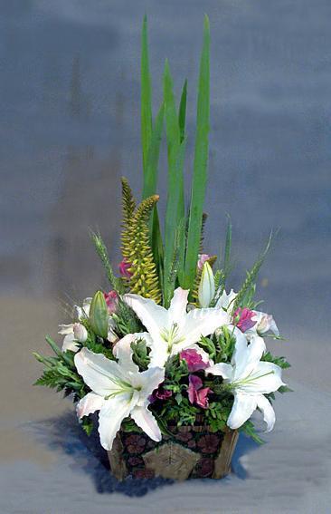 石夏兰百合花花篮鲜花图片展示。