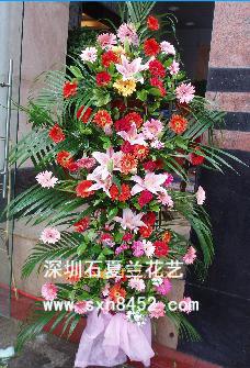 石夏兰生意火红,五层开业花篮,乔迁送花篮,深圳花店鲜花图片展示。