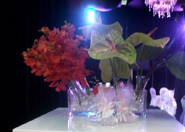 石夏兰宴会鲜花,会展鲜花,深圳结婚网,婚宴,大鹏鲜花速递,红掌,瓶花,餐桌花,玻璃瓶插花鲜花图片展示。