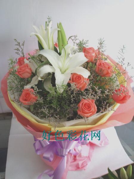 石夏兰【恩比青天】11枝粉玫加白合圆形花鲜花图片展示