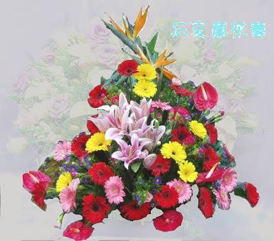 石夏兰台面花,开会用花,接待用花,签到台花,茶几花,红掌,粉香水百合,天堂鸟,泥岗附近鲜花图片展示。