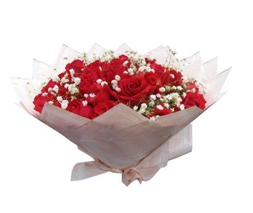 石夏兰9朵红玫瑰特价生日礼品鲜花图片展示。