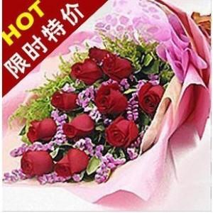 石夏兰11朵红玫瑰鲜花图片展示。
