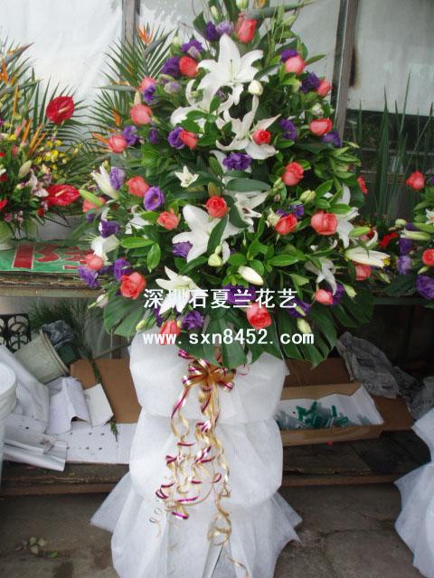 石夏兰港式开张花篮,开业花篮,西乡花篮,百合花篮鲜花图片展示。