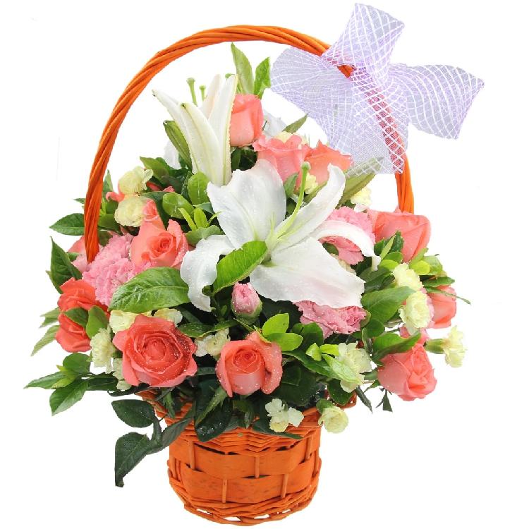 石夏兰母亲节鲜花,妈妈生日鲜花,康乃馨小花篮,18朵粉康乃馨,8朵粉玫瑰,1枝白香水百合,送礼小型花篮鲜花图片展示