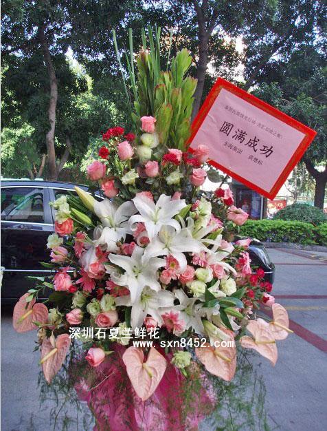 石夏兰圆满成功,深圳书画展花篮,单层西式花篮,祝贺花篮,粉掌鲜花图片展示。