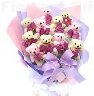 石夏兰探望送人11可爱卡通小熊鲜花图片展示。
