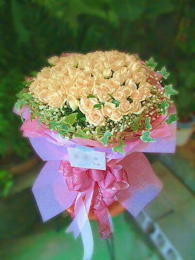 石夏兰【用心弥补】88朵香槟玫鲜花图片展示。