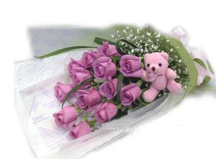石夏兰【我真的好喜欢你】13朵紫玫瑰花鲜花图片展示。