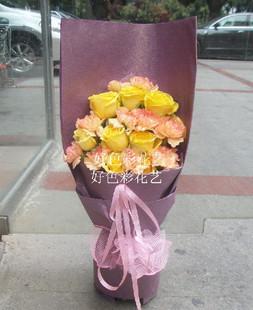 石夏兰黄玫瑰父亲生日 父亲节 爸爸节鲜花图片展示。