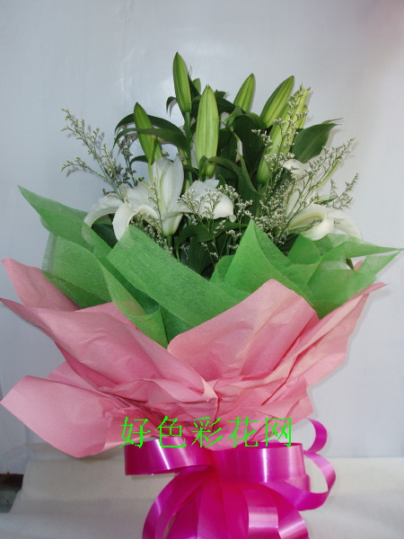 石夏兰引路人,2枝白香水白合鲜花图片展示。