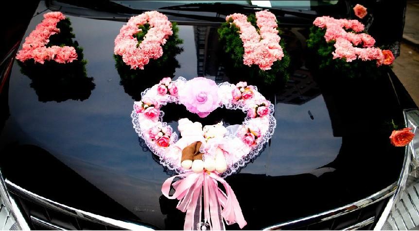 石夏兰接新娘汽车装饰鲜花图片展示。