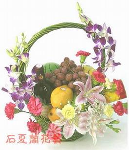 石夏兰生日探望水果篮鲜花图片展示