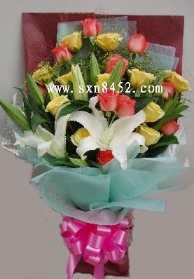 石夏兰11朵黄玫瑰与11枝粉玫瑰鲜花图片展示。