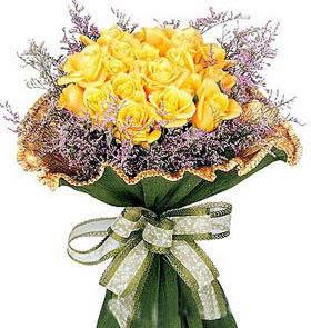 石夏兰18朵黄玫瑰鲜花图片展示。