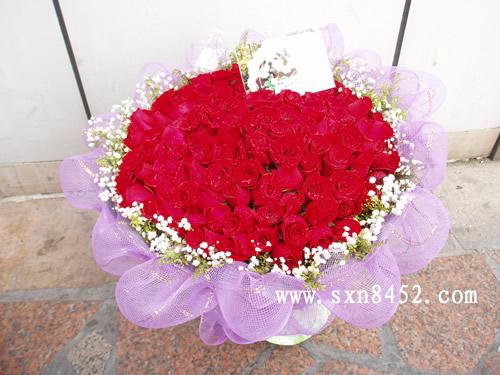 石夏兰99朵红玫瑰鲜花图片展示。