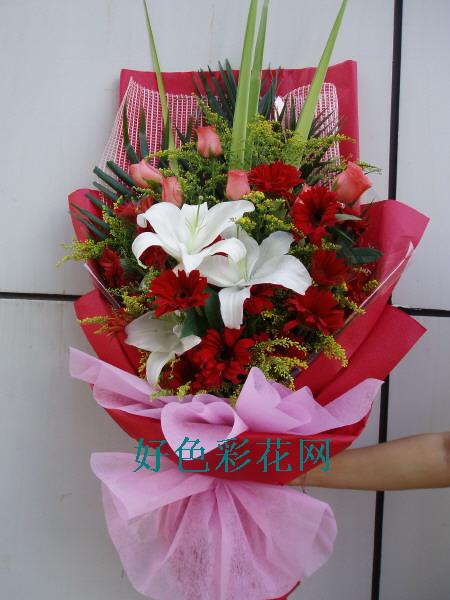 石夏兰生日鲜花速递-16支红幸福花与百合鲜花图片展示。