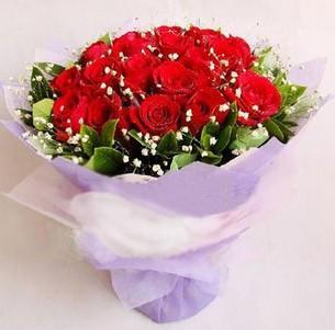 石夏兰【同心同德】19朵红玫瑰鲜花图片展示。