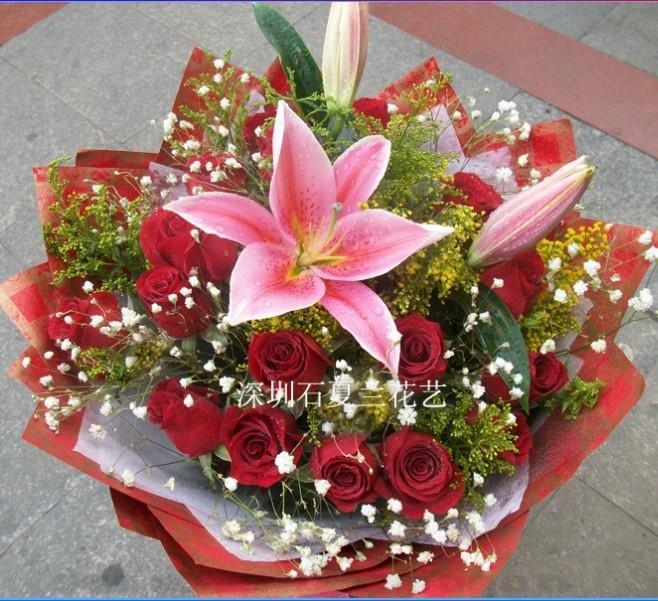 石夏兰情人节玫瑰花百合花送给最亲爱的人鲜花图片展示。