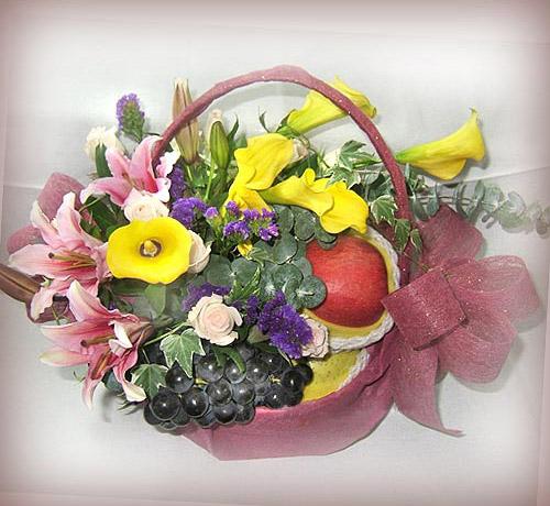 石夏兰六出花,苹果,水果花篮,石岩花蓝鲜花图片展示