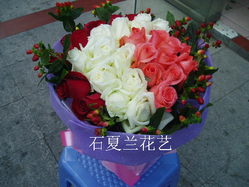 石夏兰爱你,三生三世,33朵,三色玫瑰,坪山新区,配送,石井花店,中兴街花店鲜花图片展示。