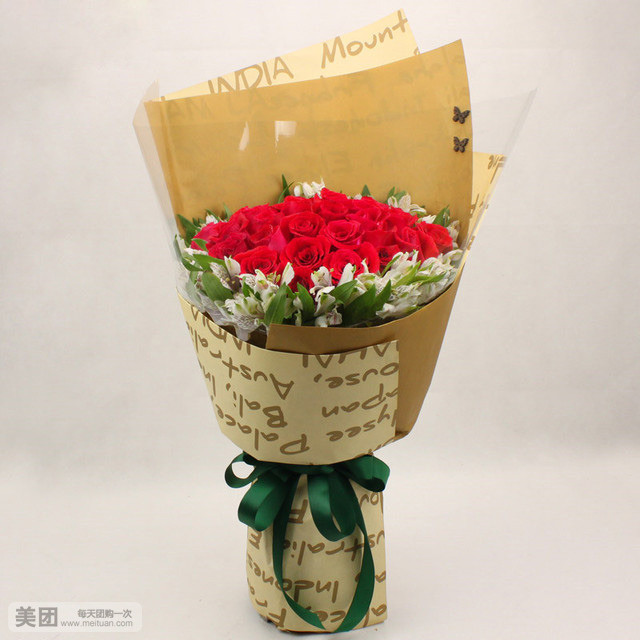 石夏兰红玫瑰花束,鲜花,福华路附近花店,19朵红玫瑰花,通心岭,华强北花店,罗湖鲜花图片展示。